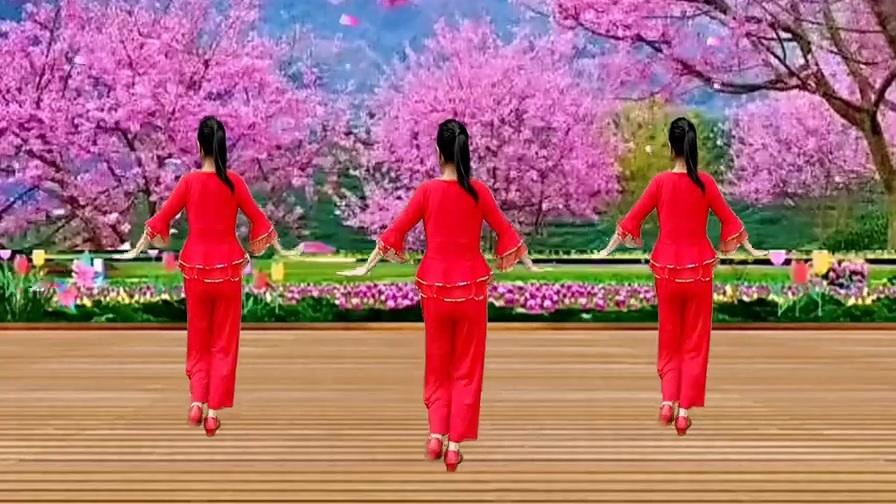 广场舞《你像三月桃花开》甜美动听,优美舞步原创附教学