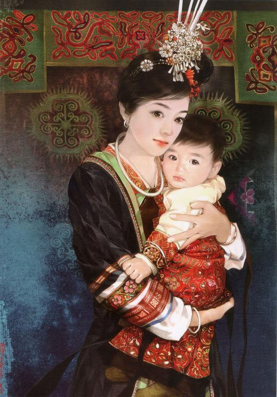 55少数民族美女图之达斡尔族、德昂族、东乡族、侗族