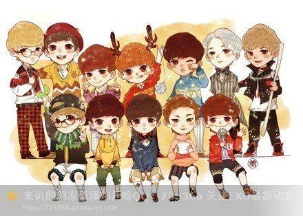 求exo成员的卡通图