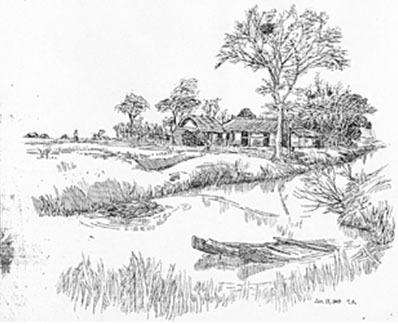 铅笔画风景 手绘 纸船