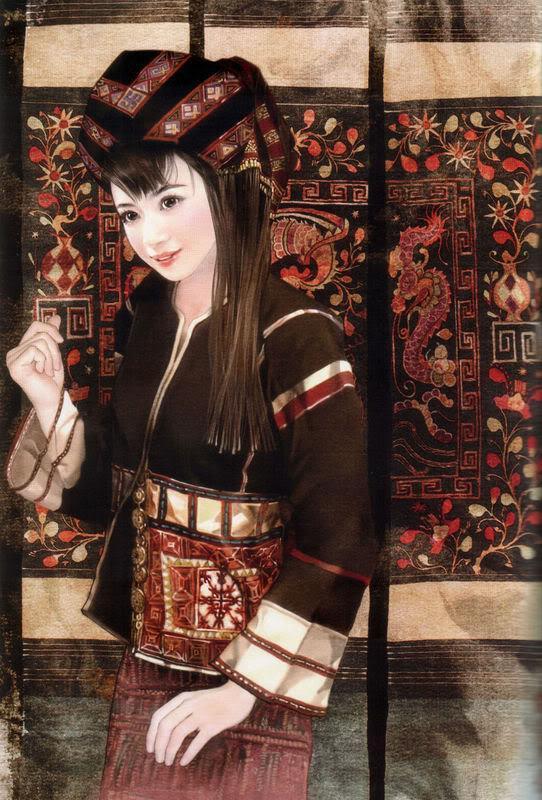 少数民族美女图之拉祜族、黎族、珞巴族、满族