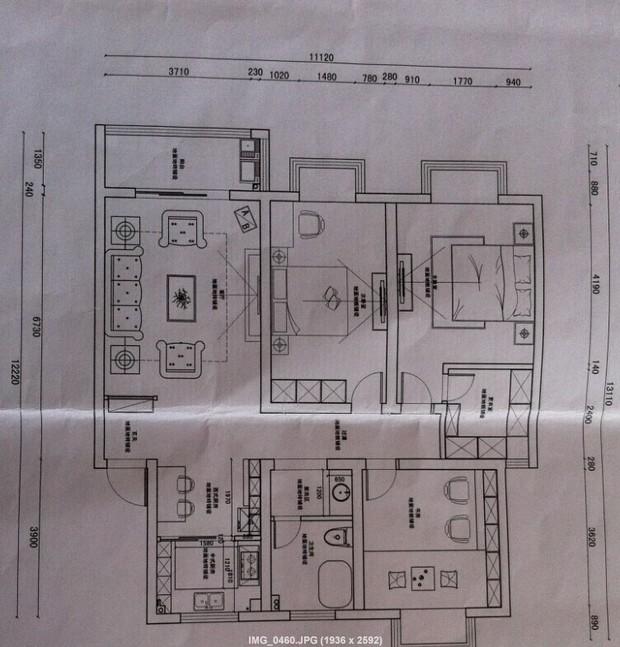 大自然三层实木复合地板90平左右可以整铺吗?平面图