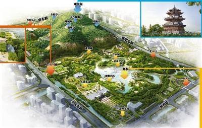 杨府山公园鸟瞰图;; 温州七大城市公园日新月异