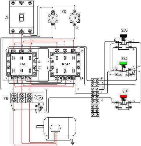 显示的是电动机正反转控制接线图,而且是采用按钮加接触器辅助触电的