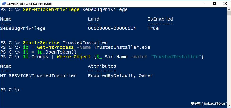 PowerShell window showing capturing the token from TrustedInstaller process.