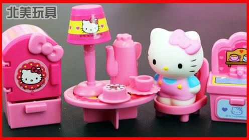 凯蒂猫玩具迷你小房子,厨房煮饭过家家!