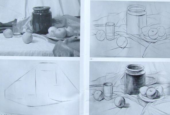 高分校考中图纸浮雕写生画拿素描美术静物星星纸图片