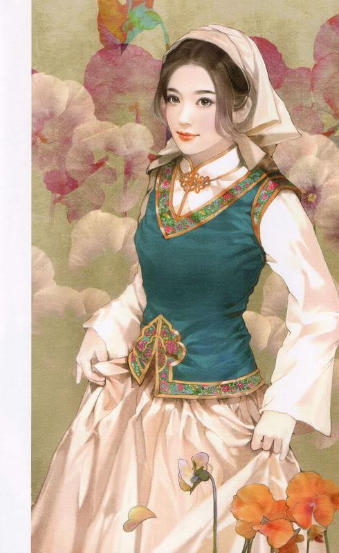 55少数民族美女图之佤族、维吾尔族、乌孜别克族、锡伯族