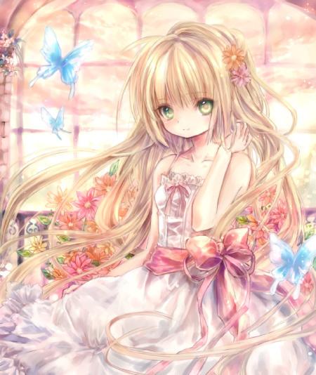 可爱的粉色系或蓝色系动漫美少女图片