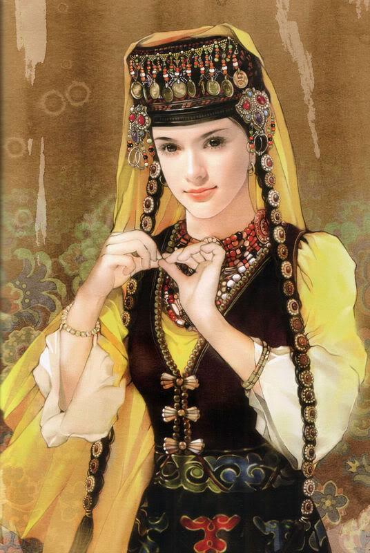 少数民族美女图之撒拉族、畲族、水族、塔吉克族