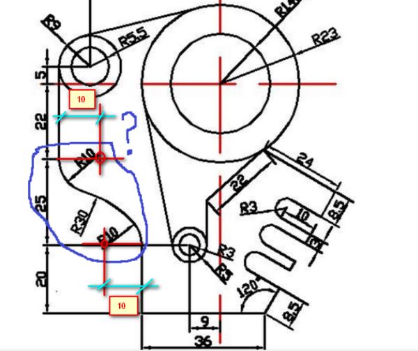cad图,图中R10、R30圆弧三个画,v圆弧cad画的里如何垂直线图片