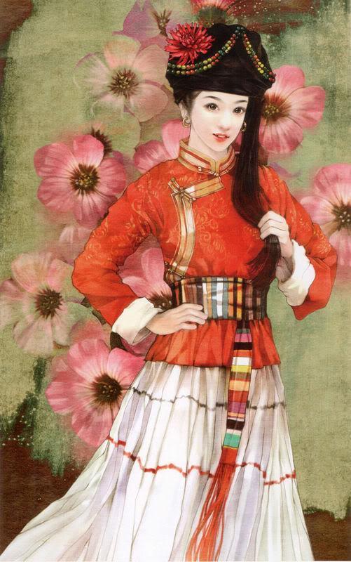 少数民族美女图之毛南族、仫佬族、普米族、羌族