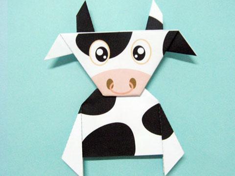 幼儿大班折纸小牛示意图园手工制作图片
