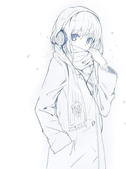 求简单动漫美少女的铅笔手绘