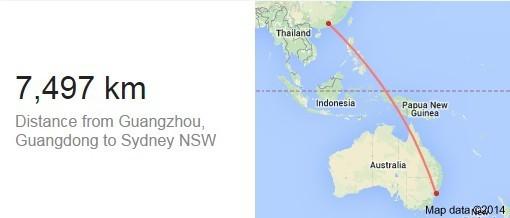 中国广州到澳大利亚的距离多少公里?时差多少