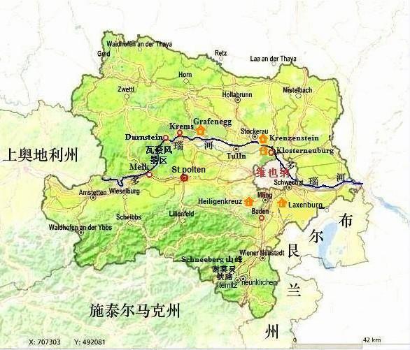 欧洲 奥地利 下奥地利; 下奥地利州; 下奥地利州旅游地图;