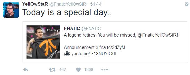 Fnatic队内辅助选手Yellowstar宣布退役