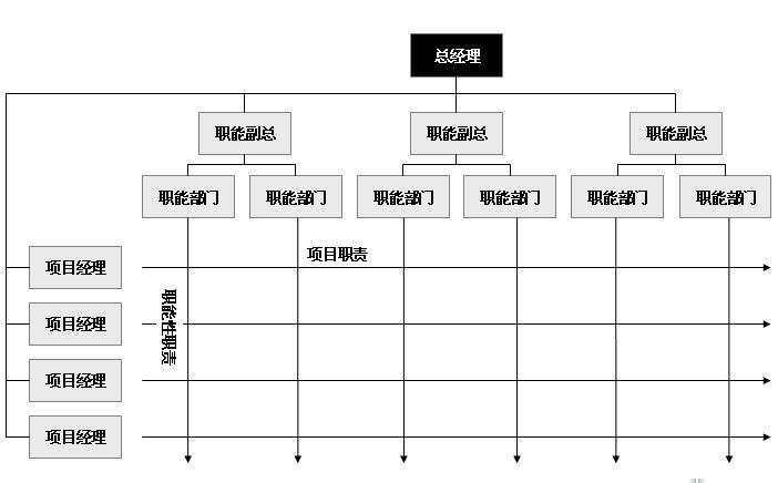 一个组织结构模式,下图就是一个典型的矩阵结构图