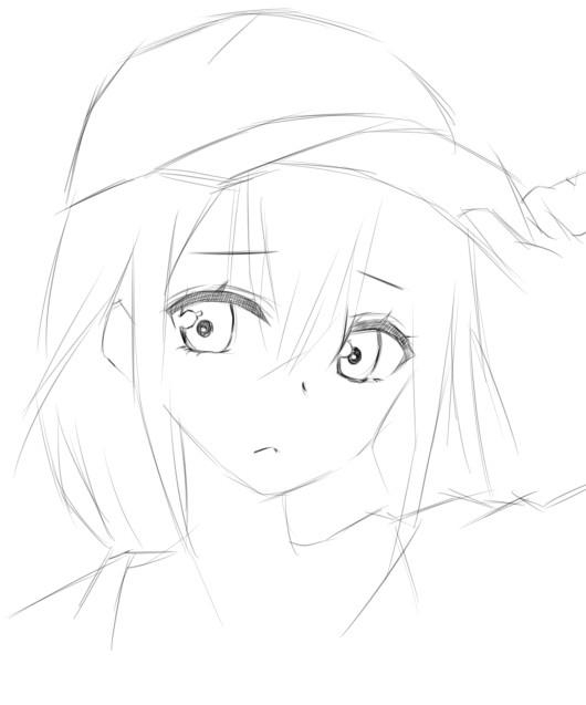 手绘教程:戴棒球帽的动漫女孩 素描风格