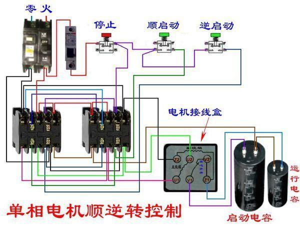 单相电机双电容接线盒里有6个端子,两个连片连