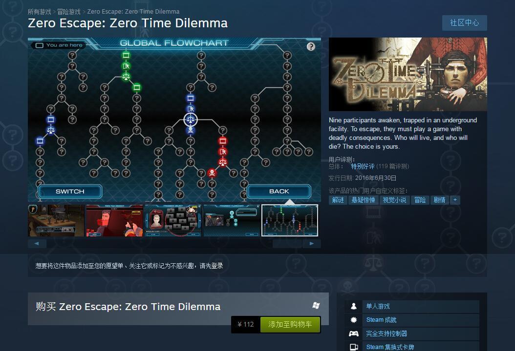 极限脱出3零时困境Steam售价