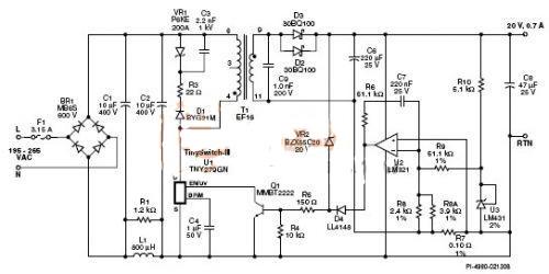 为使电源在空载下正常工作而不受损坏,使用齐纳二极管vr2进行恒压调整