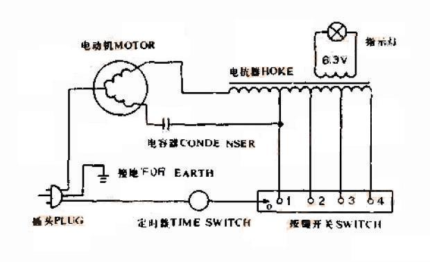 现在的电风扇都是电机绕组抽头调速,你这个还用的电抗器调速!