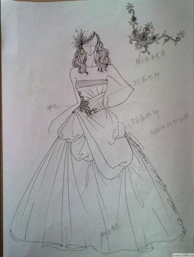 求服装设计中的婚礼裙