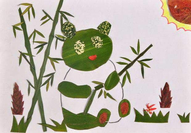 熊猫吃竹子树叶贴画怎么做