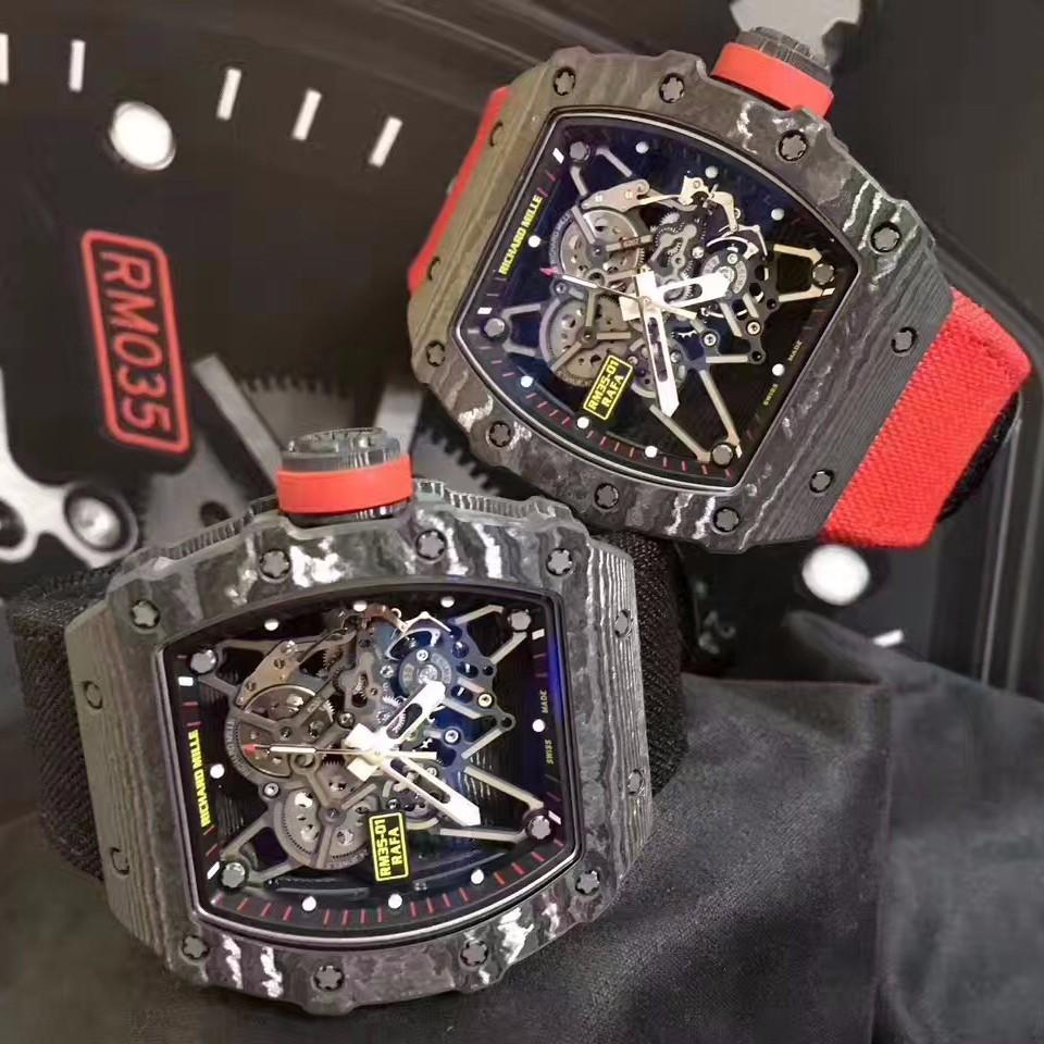 理查德米勒rm35-01黑色尼龙表带内衬橡胶复合材料手表