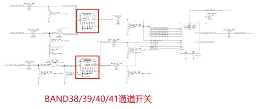 在电路原理图上可以看到缺失的芯片是负责band38/39/40/41射频功放