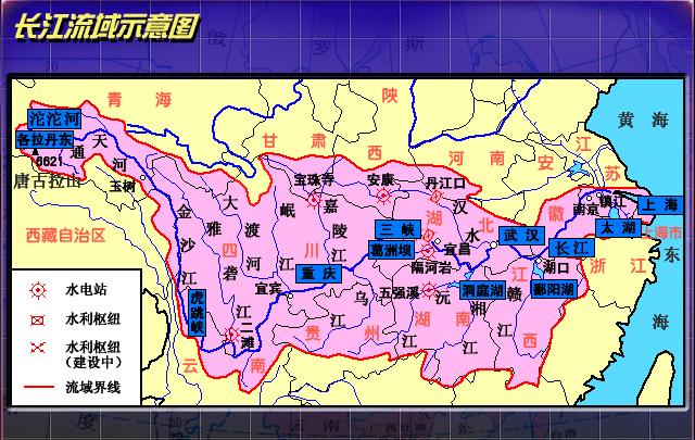 长江流域示意图